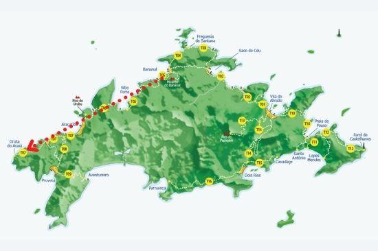 mapa ilha - trilha costa interna