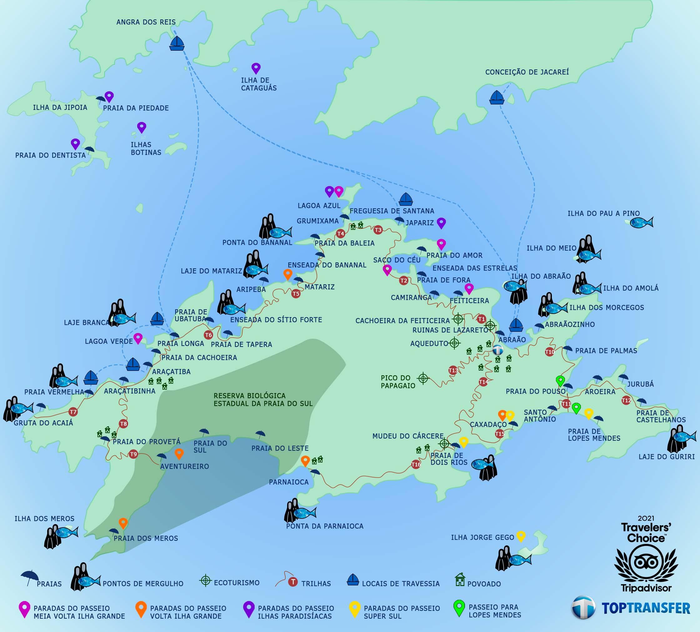 Mapa Ilha Grande Top Transfer BLOG